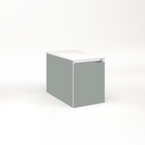 "Cartesian 12-1/8"" X 15"" X 21-3/4"" Single Drawer Vanity In Matte Gray With Slow-close Full Drawer and No Night Light"