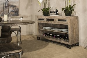 Bridgewater Console Table With Removable Wine Rack - Rubbed Black Wood