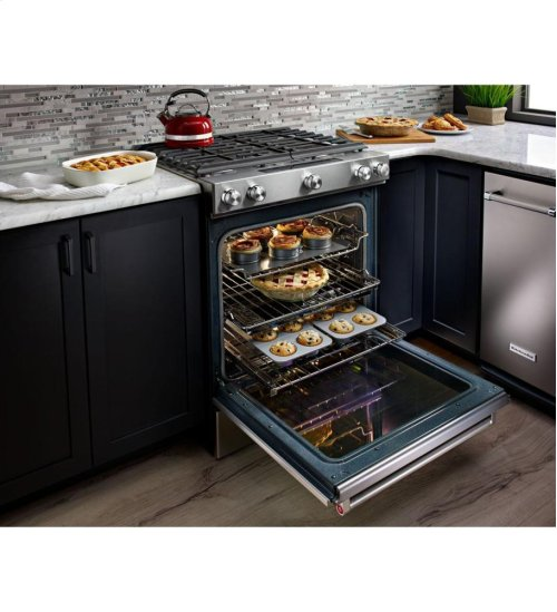 30-Inch 5 Burner Gas Convection Slide-In Range with Baking Drawer - White