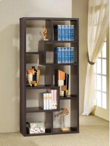- Eight shelf bookcase finished in cappuccino- Constructed with MDF, particle board, and engineered veneer- Also available in weathered grey (#800510), white (#800136), grey driftwood (#801137), walnut (#801138), and elm (#801302)