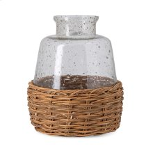 Rikard Large Clear Glass Bottle with Bamboo