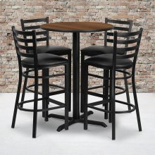 30'' Round Walnut Laminate Table Set with X-Base and 4 Ladder Back Metal Barstools - Black Vinyl Seat