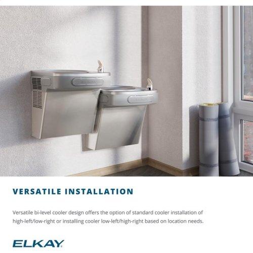 Elkay Versatile Cooler Wall Mount Bi-Level ADA Non-Filtered, 8 GPH Stainless