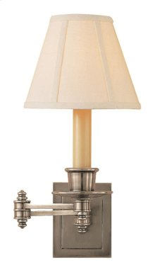 Visual Comfort S2007AN-L Studio 12 inch 40 watt Antique Nickel Swing-Arm Wall Light in Linen