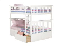Columbia Bunk Bed Full over Full with Urban Bed Drawers in White