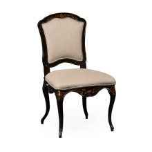 Black & Gilded Floral Chair (Side)