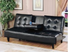 7502 Black Futon with Cup Holder