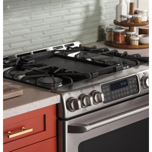 """GE Cafe™ Series 30"""" Slide-In Front Control Range with Baking Drawer"""