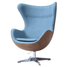 Axis Fabric Swivel Rocker Chair Dark Walnut Frame, Flint Blue