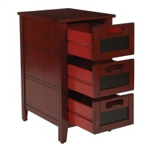 Avery Chalkboard Chair Side Table In Vintage Wine Finish, Fully Assembled