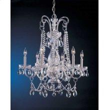 Traditional Crystal 6 Light Swarovski Strass Crystal Chrome Chandelier