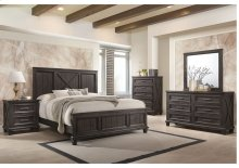 1046 Cimarron Rustic Java Valspar Queen Bed with Dresser and Mirror