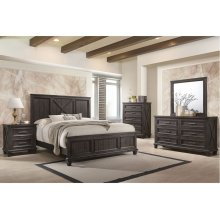 1046 Cimarron Rustic Java Valspar King Bed with Dresser and Mirror