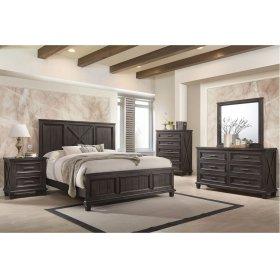 1046 Cimarron Rustic Java Valspar King Bed with Dresser and Mirror