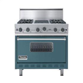 "Iridescent Blue 36"" Open Burner Commercial Depth Range - VGRC (36"" wide, four burners 12"" wide char-grill)"