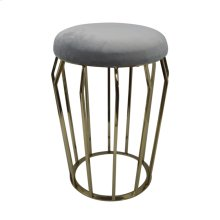 "Metal 22"" Gold Stool, Gray Cushion"