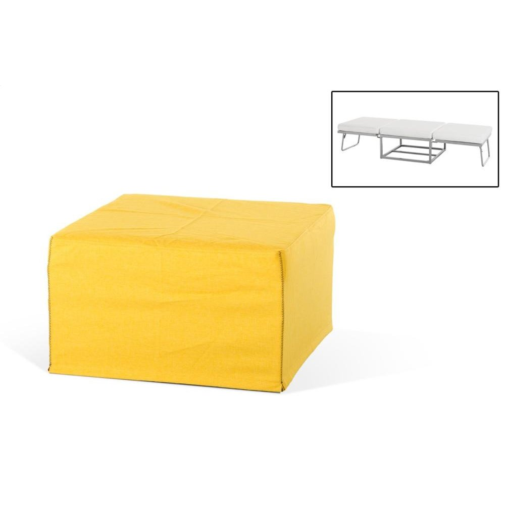 Divani Casa Incognito Modern Yellow Fabric Ottoman Sofa Bed