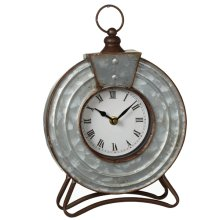 Round Galvanized Desk Clock.