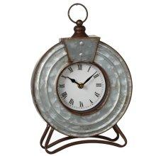 Round Galvanized Desk Clock