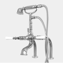 Exposed Deck Mount Telephone Tub Filler and Handshower Set with Straight Legs shown with Orleans handles