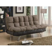 Casual Overstuffed Brown Sofa Bed
