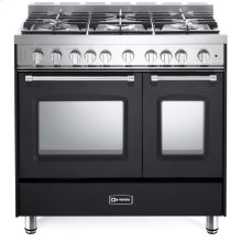 "Matte Black 36"" Gas Double Oven Range - Prestige Series"