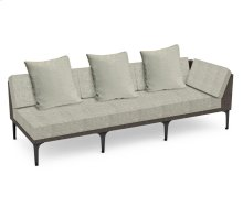 "98"" Dark Grey Rattan Left Three-Seat Sofa Sectional, Upholstered in Standard Outdoor Fabric"