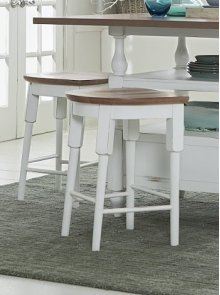 Counter Stool - Light Oak/Distressed White Finish