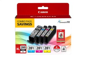"""Canon PGI-280 XL / CLI-281 Combo Ink Pack with Glossy Photo Paper (50 Sheets, 4""""x6"""") PGI-280XL/CLI-281XL/PP-301 COMBO PACK"""
