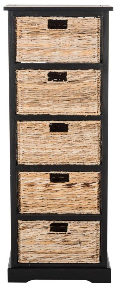 Vedette 5 Wicker Basket Storage Tower - Distressed Black
