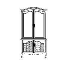 French Country Style Black Finish Display Cabinet