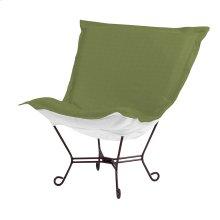 Scroll Puff Chair Seascape Moss Mahogany Frame