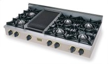 "48"" Gas Cooktop, Open Burners, Stainless Steel with Brass"