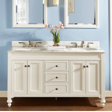 "Crosswinds 60"" Double Bowl Vanity - White"