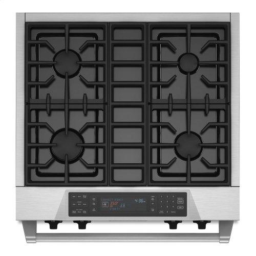 30'' 4-Burner Dual Fuel Freestanding Range, Commercial-Style - Stainless Steel
