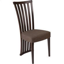 Medford Espresso Finish Wood Dining Chair with Dramatic Rail Back and Ultra-Padded Golden Honey Brown Fabric Seat