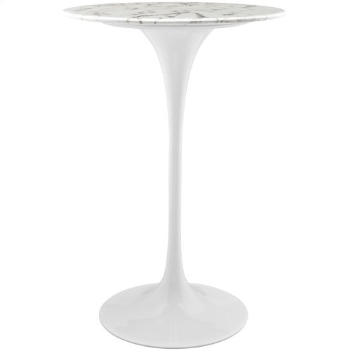"Lippa 28"" Round Artificial Marble Bar Table in White"