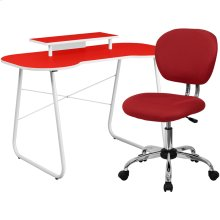 Red Computer Desk with Monitor Platform and Mesh Chair