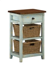 Tuscan Retreat® 2 Basket 1 Drawer Open Side Stand - Sea Blue With Antique Pine Top Product Image