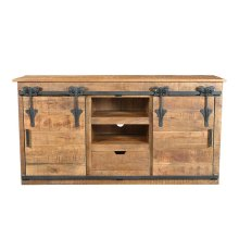 Barn Door SB15-570 TV Console with Cast Iron Accents