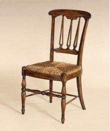 DARK WELLINGTON COTTAGE FINISH ED SIDE CHAIR, ABACA ROPE RUSH SEAT