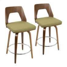 "Trilogy 24"" Counter Stool - Set Of 2 - Walnut Wood, Green Fabric, Chrome"