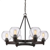 Galveston 6 Light Chandelier in Rubbed Bronze with Seeded Glass