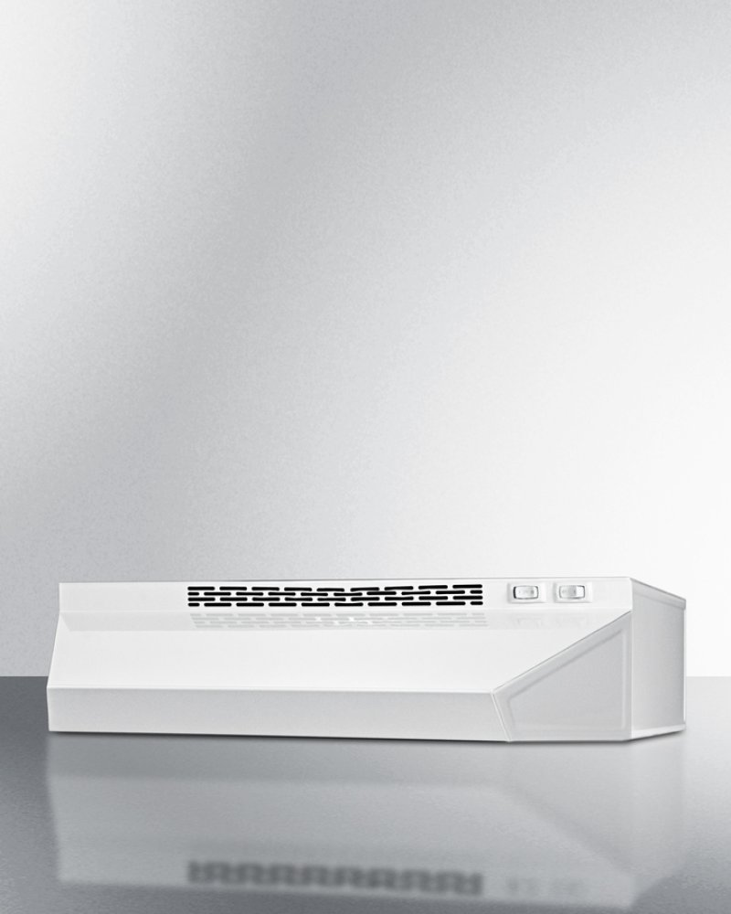30 Inch Wide Ductless Range Hood In White Finish Hidden