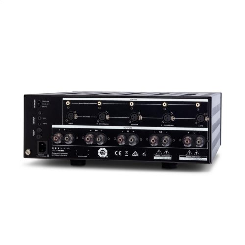 5-channel power amplifier; 225 watts per channel continuous power into 8 ohms.
