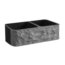 "Brandi 33"" Polished Granite Offset Double Bowl Farmer Sink with Chiseled Front - Polished Blue Gray"