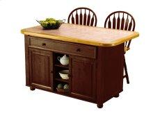 Sunset Trading 3pc Nutmeg Kitchen Island Set with Light Oak Trim / Terracotta Tile Top