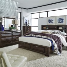 Queen Storage Bed, Dresser & Mirror