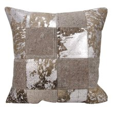 "Couture Nat Hide S6078 Grey/silver 20"" X 20"" Throw Pillow"