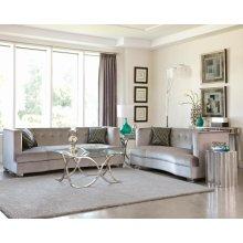 Caldwell Silver Three-piece Living Room Set